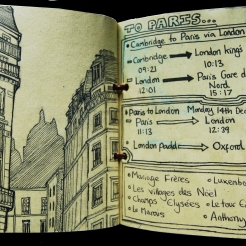 Sketchbook page: Paris itinerary