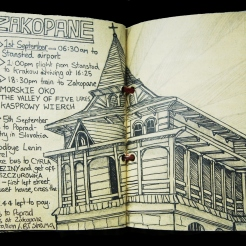 Sketchbook page: Zakopane itinerary