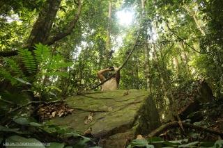 Matheus atop a boulder using a Trupulse to measure the tree